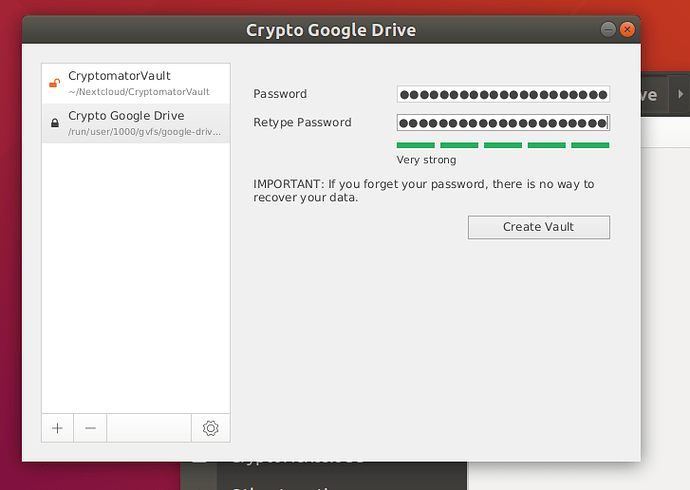 Using cryptomator in gnome mounted Google drive - Desktop