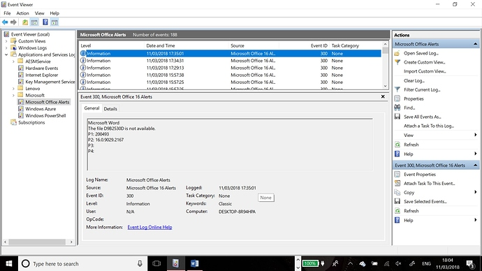 Event Viewer Event ID 300